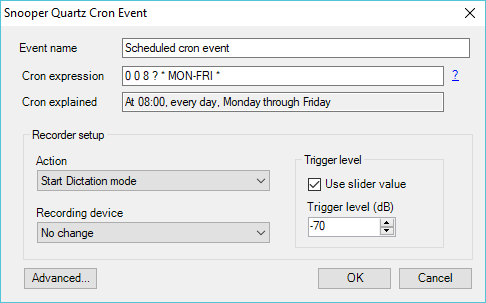Using Cron expressions in Snooper scheduler - Snooper